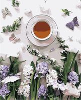 Pictura pe numere 40x50 Cafea și flori VA1079