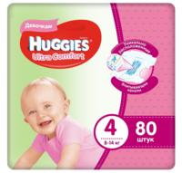 Подгузники для девочек Huggies Ultra Comfort 4 (8-14 кг), 80 шт.