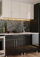 Кухонный гарнитур Bafimob Mini (High Gloss) 1.6m Beige/Black