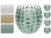 Подсвечник-чаша стеклянный рельефный D8.5сm, H10cm
