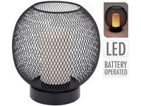 Lampa de masa cu luminare LED, H19cm, D18cm, neagra, pe baterii,3AA