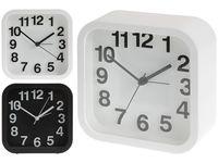 Часы-будильник 13X13X5cm, цвет белый/черный