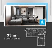 1 комнатная квартира + прихожая 35 м2