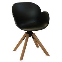 купить Пластиковый стул, деревянные ножки с хромированной стальной опорой 600x580x840 мм, черный в Кишинёве