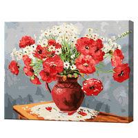 Buchet de maci și românițe, 40х50 cm, pictură pe numere Articol: GX23470