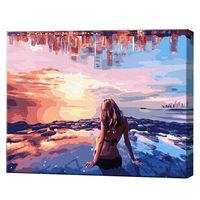 Domnișoara la malul mării, 40х50 cm, pictură pe numere Articol: GX34560