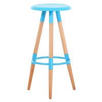 купить Барный стул с поверхностью из MDF и деревянными ножками, 370x780,5 мм, синий в Кишинёве