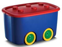 Контейнер для игрушек на колесах 46l, 58X39XH32cm, красн-син