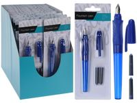 Набор ручка перьевая + 2 запаски, синяя