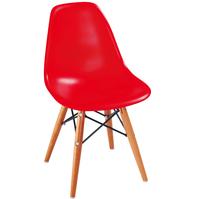 купить Детский пластиковый стул с деревянными ножками и металлической подставкой 420x400x330 мм, красный в Кишинёве