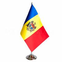 купить Флажок настольный из атласа 22,5x15 см на металлическом флагштоке - Молдова или друге страны в Кишинёве