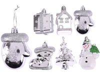 Set decoratiune pentru brad 2X5cm, argintiu, 6 modele