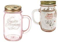 Банка для напитков с ручкой и крышкой Q.S. 0.415l, розовая