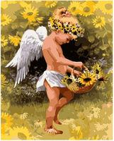 Pictura pe numere 40x50 Micul înger în floarea-soarelui VA1583