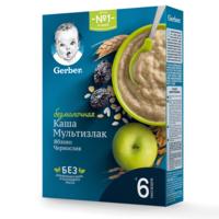 Каша мультизерновая без молока яблоко-ченослив Gerber, с 6 месяцев, 180г