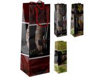 """Пакет подарочный для бутылки """"Бокал и виноград"""" 34.5X12X10cm"""