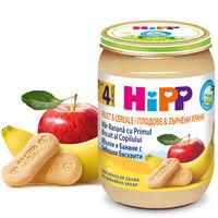 Piure de mere, banane cu biscuiți Hipp (4 luni+), 190g