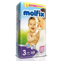 Molfix подгузники Midi 3, 4-9кг. 45 шт
