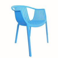 Стул из пластика с округлой спинкой и сиденьем, синий