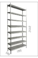 Стеллаж металлический с металлической плитой Gama Box 1195Wx580Dx2440H мм, 8 полок/MB