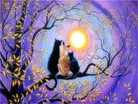 3 pisici in copac, 40х50 cm, pictură pe numere Articol: Y5259