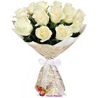 Белая роза Эквадор 40-50 СМ Поштучно
