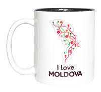 купить Кружка в черном оформлении – I love Moldova в Кишинёве