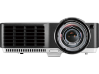 "DLP XGA   Projector 2700Lum,  10000:1 BenQ ""MX813ST"", White Native Resolution : XGA (1024x768) Brightness* : 2700 ANSI lumens Contrast Ratio : 10000 : 1 Display Color : 1.07 Billion Colors Lens : F=2.6, f=6.9mm Aspect Ratio : Native 4:3 (5 aspect ratio selectable) Throw Ratio : 0.61 (78""@0.96m) Image Size (Diagonal) : 49~300"" Zoom Ratio : Fixed Lamp(Normal/Economic Mode/SmartEco Mode)* : 230W, 3500/5000 hours (up to 6500 hours under SmartEco mode) Keystone Adjustment : 1D, Vertical ± 40° Projection Offset : 120% Resolution Support : VGA (640 x 480) to UXGA (1600 x 1200) Horizontal Frequency : 31K-102KHz Vertical Scan Rate : 23-120Hz Interface : Computer in (D-sub 15pin) x 2(Share with Component) Monitor out (D-sub 15pin) x 1 HDMI (v1.3) x 1 Composite Video in (RCA) x 1 S-Video in (Mini DIN 4pin) x 1 Audio in (Mini Jack) x 2 Audio L/R in (RCA) x 2 Audio out (Mini Jack) x 1 Speaker 10W x 1 LAN (RJ45) x 1 (LAN Control) USB (Type B) x 1  (Download & page up/down) RS232 (DB-9pin) x 1 IR Receiver x 2 Dimensions(W x H x D) : 302 x 124 x 232.7 mm HDTV Compatibility : 480i, 480p, 576i, 576p, 720p, 1080i, 1080p Video Compatibility : NTSC, PAL, SECAM Weight : Net weight: 2.85 kg. Gross weight: 4.20 kg. Audible Noise : 29/27 dBA (Normal/Economic mode) Power Supply : AC 100 to 240 V, 50/60 Hz Power Consumption : 285W (Typical), Standby<1W"