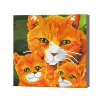 Семья рыжих котиков, 20x20 см, алмазная мозаика