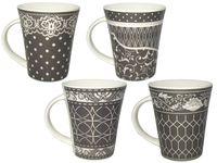 Чашка конус с серым и цветным о рнаментом 200ml