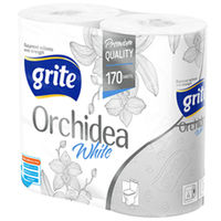 GRITE - Туалетная бумага ORCHIDEA WHITE  3 слоя 4 рулона 21,25м