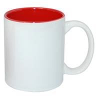 Кружка для сублимации белая, красная внутри 11oz