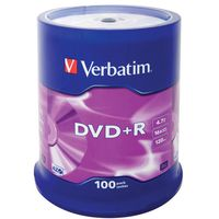 VERBATIM Диск DVD+R VERBATIM 16x/4.7/100 spindle mat silver 43551