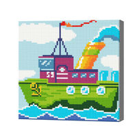 Разноцветный кораблик, 20x20 см, алмазная мозаика