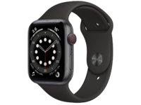Apple Watch Series 6 GPS + Cellular, 44mm Stainless Steel Case with Black Sport Band,M09H3 ,Graphite