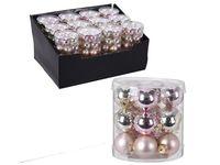 Set globuri 18X30mm, in cilindru, perle roz