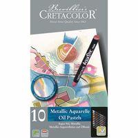 Set creioane profesionale de ceară Metalic Cretacolor 10 cul.