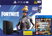 Game Console Sony PlayStation 4 Pro 1TB Black, 1 x Gamepad (Dualshock 4) + Fortnite + Grand Theft Auto V