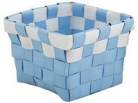Cos impletit 10X10X7.5cm albastru cu alb, plastic