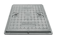 Люк КВАДРАТНЫЙ с рамой композитный  600 х 600/ 2т серый (h=55mm, 28kg)