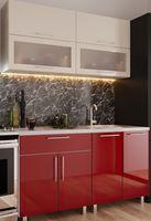Кухонный гарнитур Bafimob Modern (High Gloss) Mini 1.4m Beige/Bordo