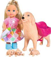 Simba Кукла Еви с собачкой и щенками,12 см