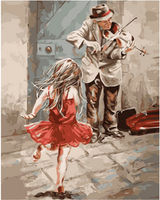 Pictura pe numere 40x50 Fetita si batrinul violonist VA1413