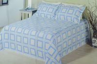 Двуспальное покрывало Blue, 100% полиэстер, 2 наволочки