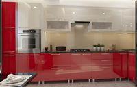 Bucătărie Bafimob Corner (High Gloss) 4.1x0.9m Eco +tandembox Beige/Red