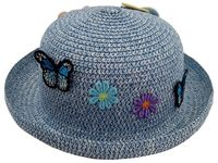 купить Шляпа детская летняя D24cm, с цветами и бабочками в Кишинёве