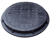 Крышка с рамой для колодца ф.500/ 2т  чёрн. (560x55x14kg)