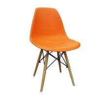 cumpără Scaun din plastic cu picioare din lemn cu suport metalic, orange în Chișinău
