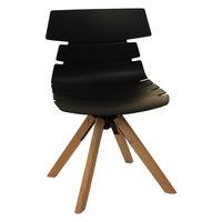 cumpără Scaun din plastic şi picioare de lemn cu suport metalic 490x510x810 mm, negru în Chișinău