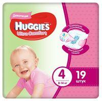 Подгузники для девочек Huggies Ultra Comfort 4 (8-14 kg), 19 шт.